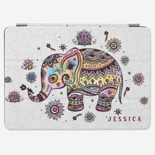 Cute Colorful Floral Baby Elephant Illustration iPad Air Cover