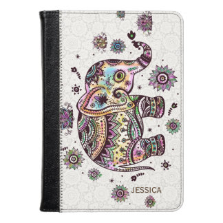 Cute Colorful Floral Baby Elephant Illustration Kindle Case