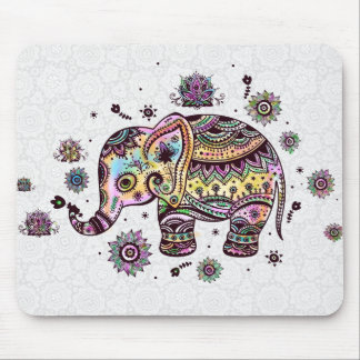 Cute Colorful Floral Baby Elephant Illustration Mouse Pad