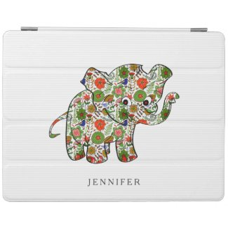 Cute Colorful Floral Baby Elephant iPad Cover