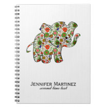 Cute Colorful Floral Baby Elephant Notebook
