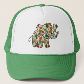 Cute Colorful Floral Baby Elephant Trucker Hat