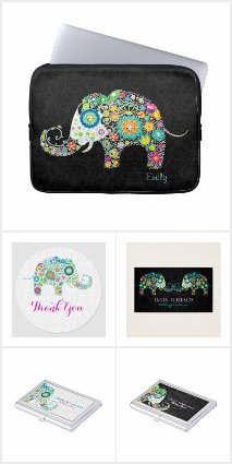 Cute Colorful Floral Elephant
