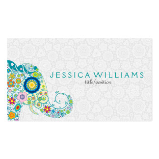 Cute Colorful Floral Elephant Business Card