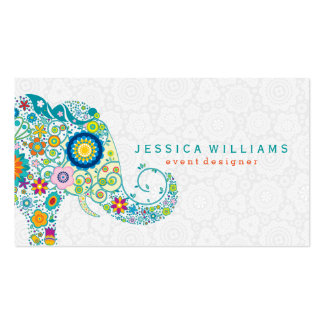 Cute Colorful Floral Elephant Illustration 2 Business Card