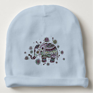 Cute Colorful Floral Elephant Illustration 3 Baby Beanie