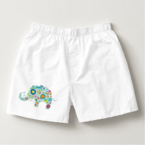 Cute Colorful Floral Elephant Illustration Boxers