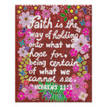 Cute Colorful Floral Faith Bible Verse Poster