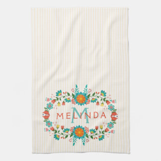 Cute Colorful Floral Frame Hand Towel