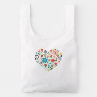 Cute Colorful Floral Heart Illustration Reusable Bag