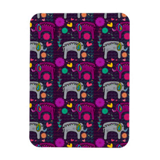 Cute colorful floral hearts elephant pattern magnet