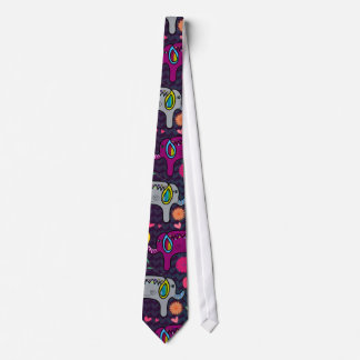 Cute colorful floral hearts elephant pattern neck tie