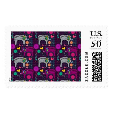Valentines Themed Cute colorful floral hearts elephant pattern postage