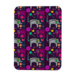 Cute colorful floral hearts elephant pattern rectangular photo magnet