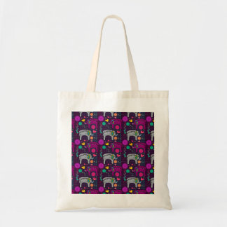 Cute colorful floral hearts elephant pattern tote bag