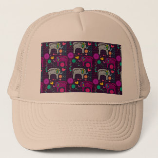 Cute colorful floral hearts elephant pattern trucker hat