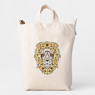 Cute Colorful Floral Lion Face 2 Duck Bag