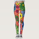 "Cute Colorful Floral Orange Leggings<br><div class=""desc"">Cute and bright,  colorful floral on orange leggings</div>"