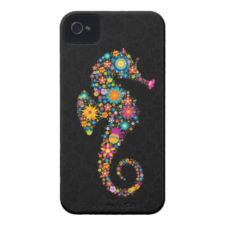 Cute Colorful Floral Sea Horse Illustration iPhone 4 Case-Mate Case