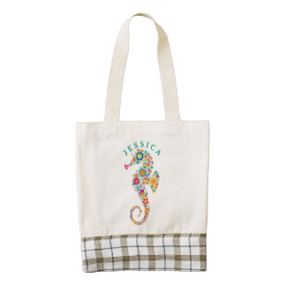 Cute Colorful Floral Sea Horse Illustration Zazzle HEART Tote Bag