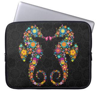 Cute Colorful Floral Sea Horses Illustration Laptop Sleeve