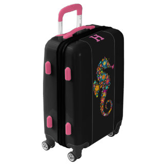 Cute Colorful Floral Seahorse Illustration Luggage