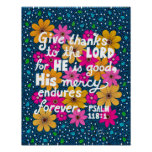 Cute Colorful Floral Thanksgiving Bible Verse Poster