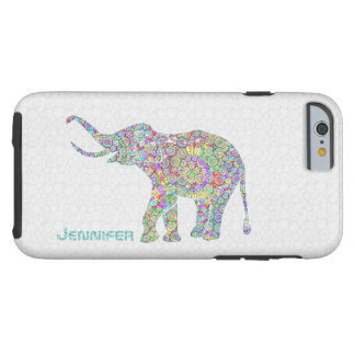 Cute Colorful Flower Elephant On White Background Tough iPhone 6 Case