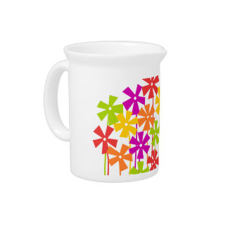 Cute colorful flower garden beverage pitcher