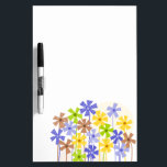 """Cute colorful flower garden dry erase board<br><div class=""""desc"""">Sweet,  childish design featuring funky style,  doodled flowers in red,  orange,  yellow,  pink,  purple and green on a white background. Cute and girly modern vector drawing. Elegant and stylish gift for every woman or girl.</div>"""