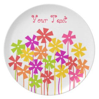 Cute colorful flower garden plate