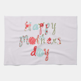 Cute Colorful Flower Letters-Happy Mothers Day Towel