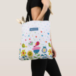 Cute colorful flowers and birds tote bag