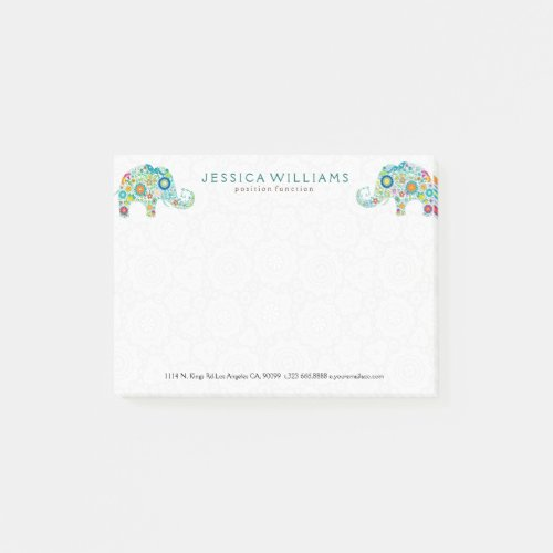 Cute Colorful Flowers Elephants Post_it Notes