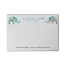 Cute Colorful Flowers Elephants Post-it Notes