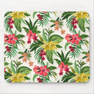 Cute Colorful Flowers Green Leaves Mouse Pad