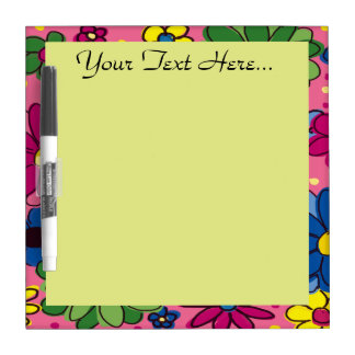 Cute Colorful Flowers on Pink Dry Erase Board
