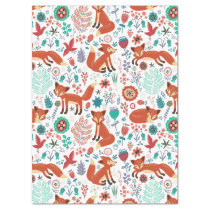 Cute Colorful Flowers & Red Foxes Pattern Tissue Paper