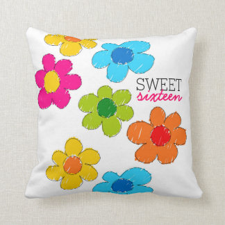 Cute colorful flowers Sweet Sixteen Pillow
