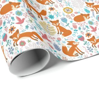 Cute Colorful Foxes Flowers And Birds Pattern Wrapping Paper