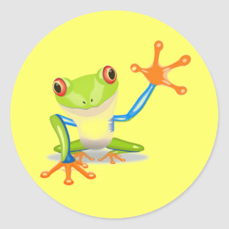 Cute Colorful Frog Funny Animal Kids Classic Round Sticker
