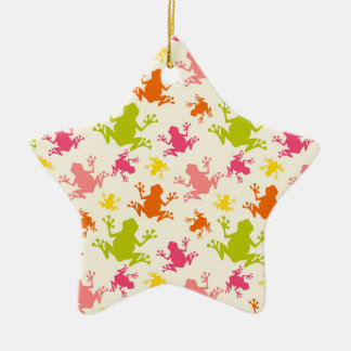Cute Colorful Frogs Pattern Christmas Ornaments
