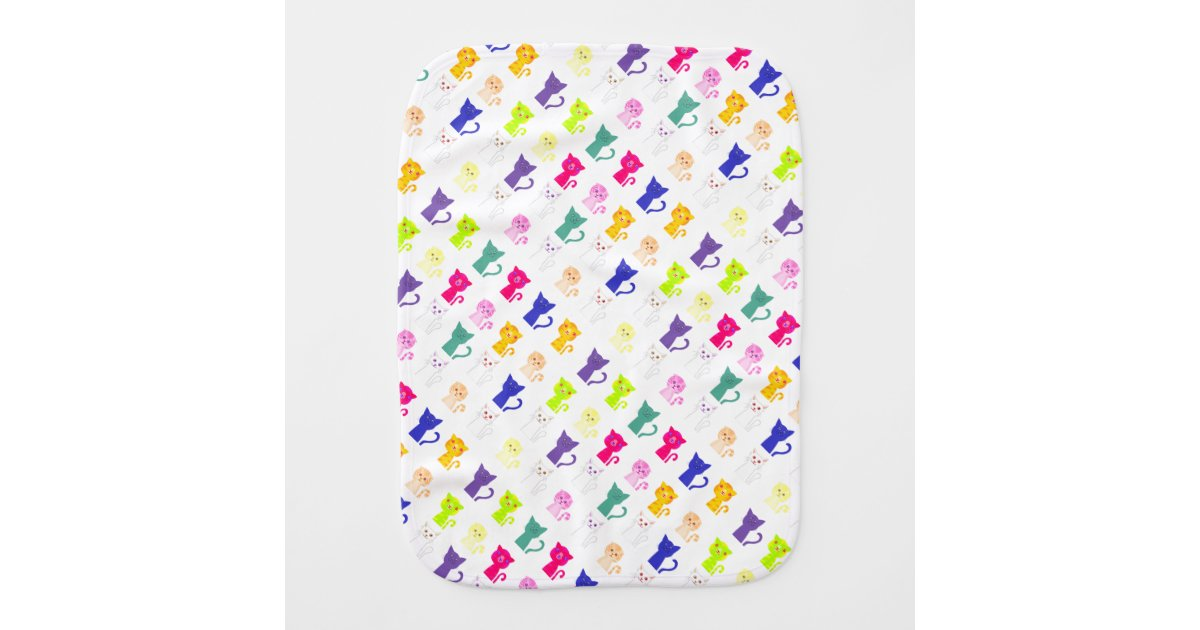 Baby Burp Cloth With Funny Expression Saying: Cute Colorful Funny Cats Pattern Baby Burp Cloth