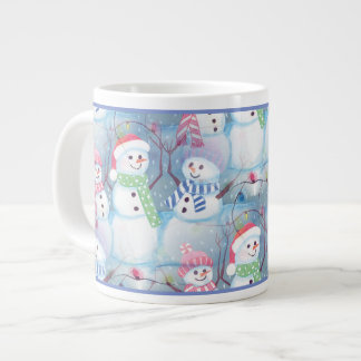 Cute Colorful Funny Winter Season Snowman Pattern Giant Coffee Mug