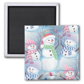 Cute Colorful Funny Winter Season Snowman Pattern Magnet