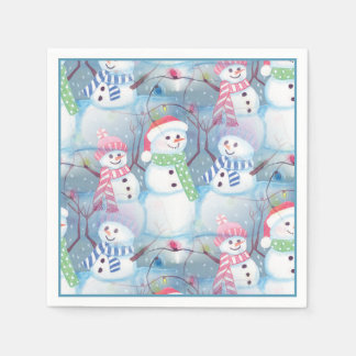 Cute Colorful Funny Winter Season Snowman Pattern Paper Napkin