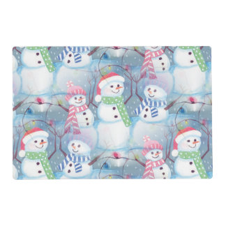 Cute Colorful Funny Winter Season Snowman Pattern Placemat