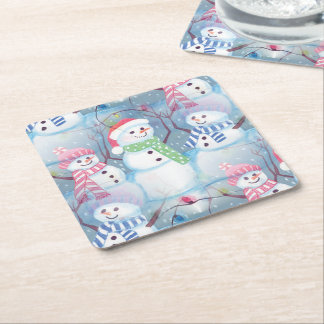 Cute Colorful Funny Winter Season Snowman Pattern Square Paper Coaster