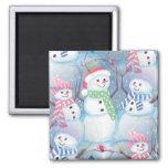 Cute Colorful Funny Winter Season Snowmen Pattern 2 Inch Square Magnet