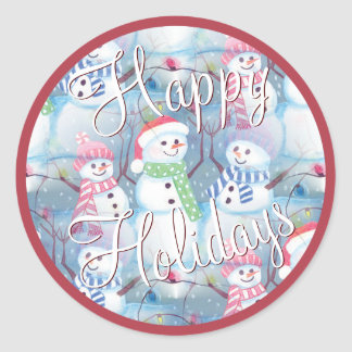 Cute Colorful Funny Winter Season Snowmen Pattern Classic Round Sticker